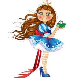 Little princess with frog vector