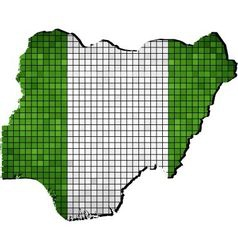 Nigeria map with flag inside vector
