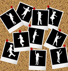 Instant photos with children silhouettes hang on vector