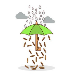 Isolated cartoon investment umbrella vector