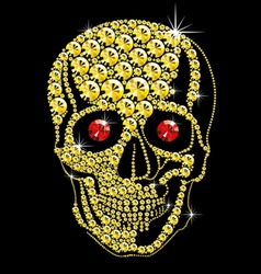 Diamond gold skull with red eyes vector