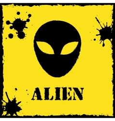 Alien logo on yellow background vector
