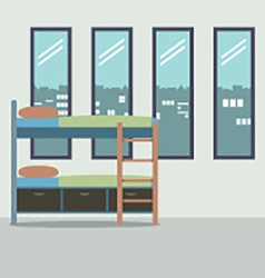 Side view of bunk bed with four glass windows vector