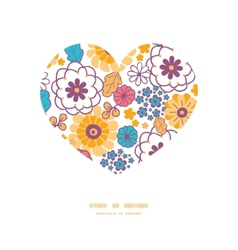 Colorful oriental flowers heart silhouette vector