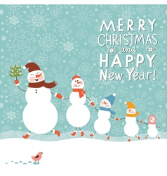 Family of cute snowmen vector