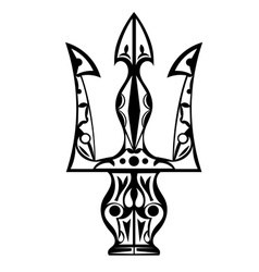Black and white tattoo trident vector
