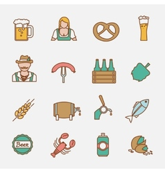 Beer icons set flat line vector