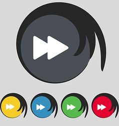 Rewind icon sign symbol on five colored buttons vector