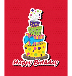 Birthday card with topsy-turvy cake vector