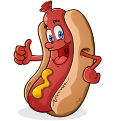 Hot dog thumbs up cartoon character vector