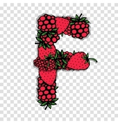 Letter f made from red berries sketch for your vector