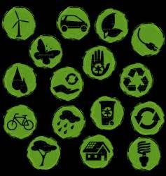 Grunge eco symbols button vector