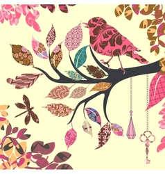 Retro background of tree branch with leaves and vector