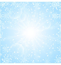 Merry christmas background with sun snowflakes vector