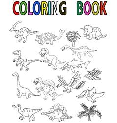Dinosaur coloring book vector