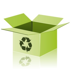 Green cardboard with recycle sign vector