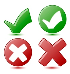 Green checkmark and red cross symbols vector