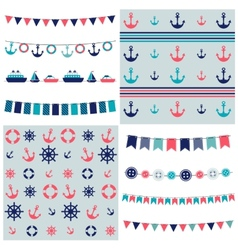 Sea theme garland and patterns vector