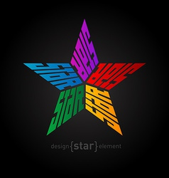 Original colorful star made of words design vector
