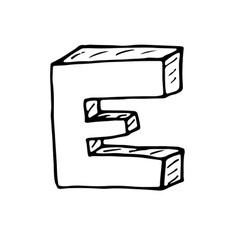 English alphabet - hand drawn letter e vector