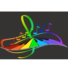 Music notes and keyboard vector