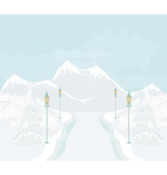 Beautiful winter landscape with snow covered trees vector