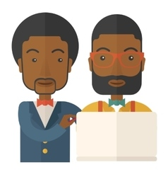 Two black workers using laptop vector