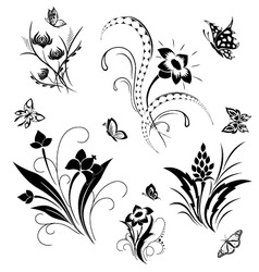 Set with butterflies and flower patterns vector