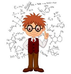 Smart boy cartoon vector