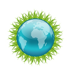 Icon earth with grass environment symbol vector