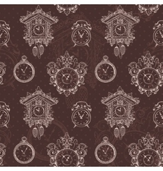 Old vintage clock seamless pattern vector