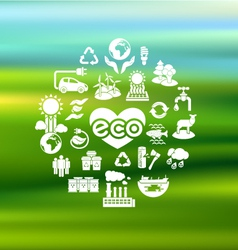 Eco icons silhouettes on blurred background vector