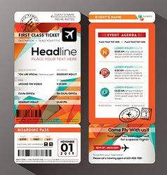 Modern boarding pass ticket event invitation card vector