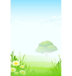 Green landscape with clouds flowers and one tree vector