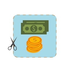 Icon of coupon cutout with money vector