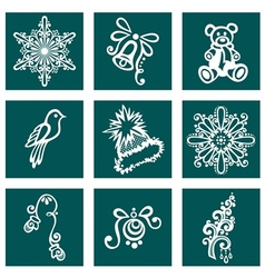 Set of deco ornamental winter objects vector