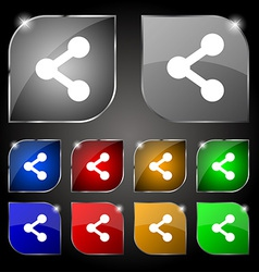 Share icon sign set of ten colorful buttons with vector