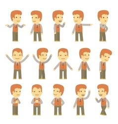 Urban character set in different poses simple flat vector