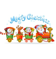 Toy train with reindeer bear and snowman vector