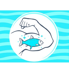 Strong man hand with icon of fish on blu vector