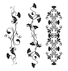 Set swirling decorative floral elements vector