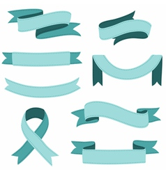 Stitched ribbons set vector