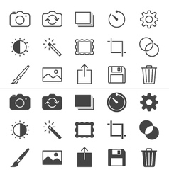 Photography thin icons vector
