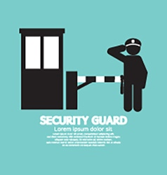 Security guard with closed barrier gate vector