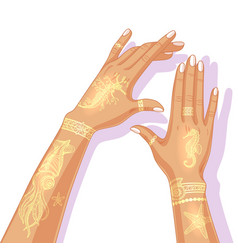 Hands with temporary golden tattoo vector