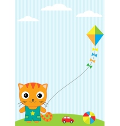 Cat and kite vector