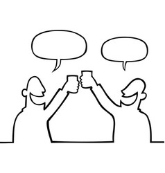 Two people toasting with drinks vector