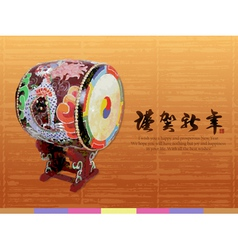 Korean traditional a big drum new year card vector