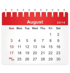 Stylish calendar page for august 2014 vector
