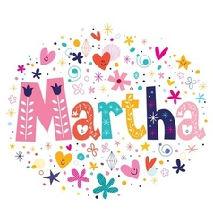 Martha female name decorative lettering type vector